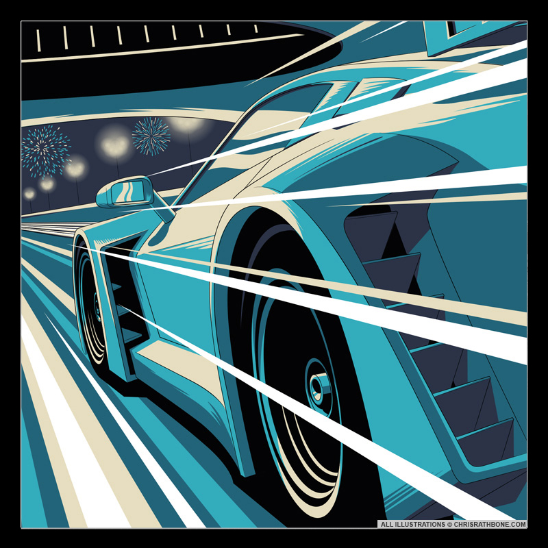 Gulf 12 Hour Event Poster illustration by Chris Rathbone