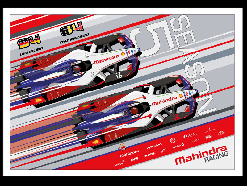 Mahindra Racing Poster illustrations by Chris Rathbone