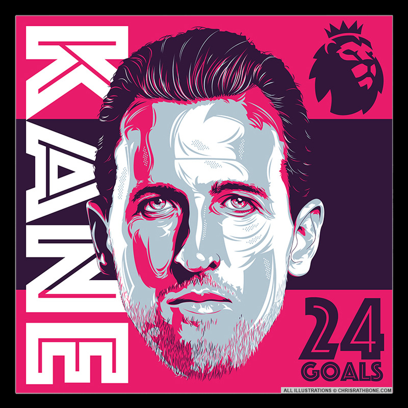 Harry Kane illustrations by Chris Rathbone