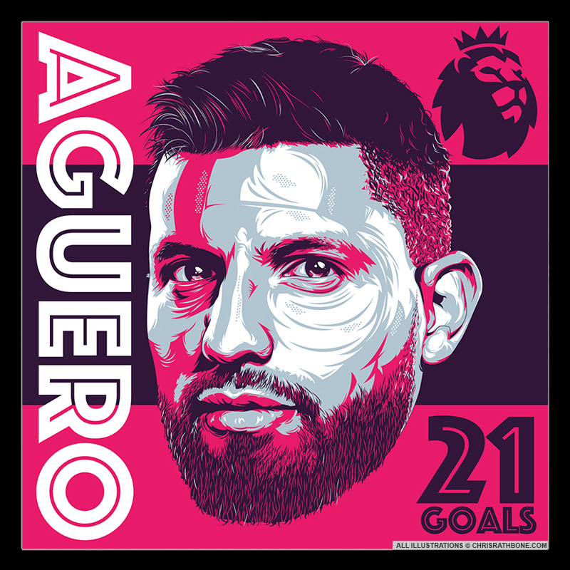 Sergio Aguero Portrait illustrations by Chris Rathbone