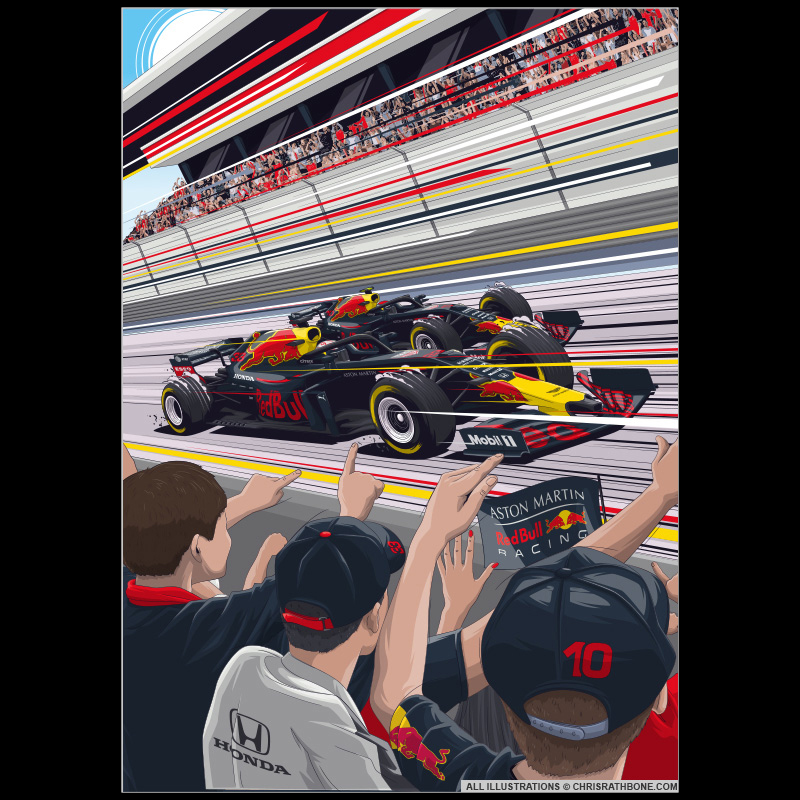 Redbull Racing Red Bull Japan illustration by Chris Rathbone