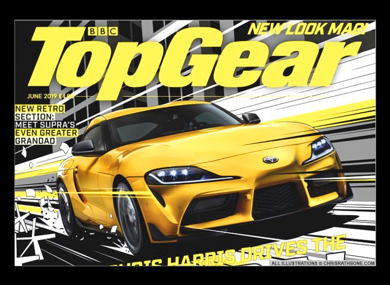 Top Gear Magazine Cover Illustration by Chris Rathbone