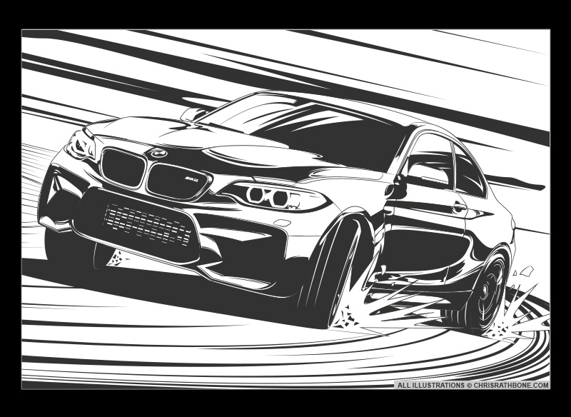 BMW M2 comic book style illustration by Chris Rathbone