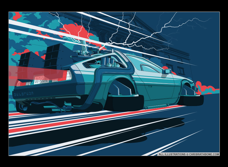 Back To The Future Deloran Poster Illustration by Chris Rathbone