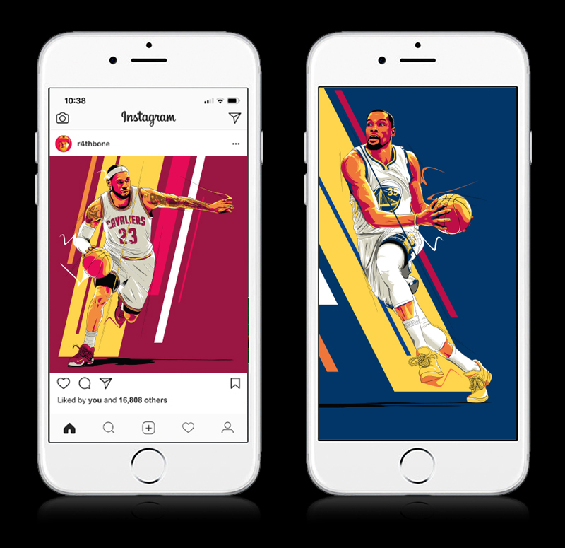 Lebron James and Kevin Durant illustrations by Chris Rathbone