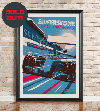 Silverstone GP Race Poster by Chris Rathbone