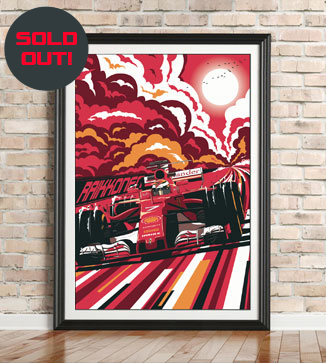 Kimi Raikkonen F1 poster by Chris Rathbone