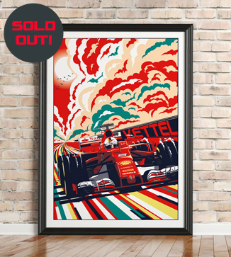 Sebastian Vettel F1 poster by Chris Rathbone